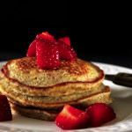 Banana Pancakes with Strawberry Topping